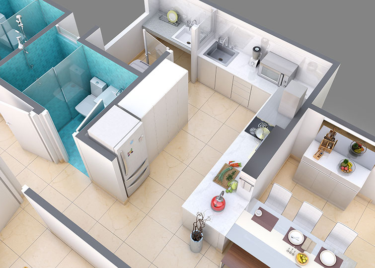 You Can Configure Your Apartment To Include A Pooja Room Or A Store Room,  Or You Can Even Opt To Leave The Space Open. Part 34